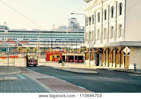 Downtown Fremantle Scene with Trolley and Cruiseship