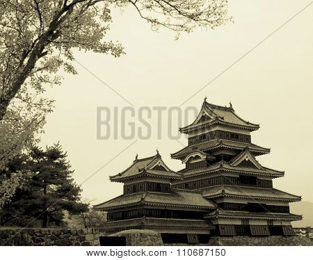 Masumoto Castle , Black Palace For War In Autumn At Nagano Province In  Japan Vintage Sepia Tone