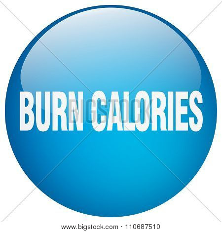 Burn Calories Blue Round Gel Isolated Push Button