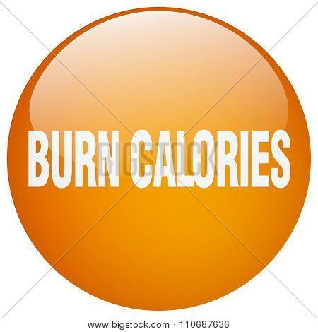 Burn Calories Orange Round Gel Isolated Push Button