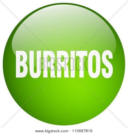 Burritos Green Round Gel Isolated Push Button