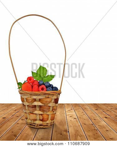 Woden basket with fruits