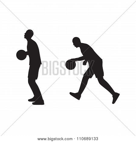 Black Silhouette Of Basketball Player With The Ball.