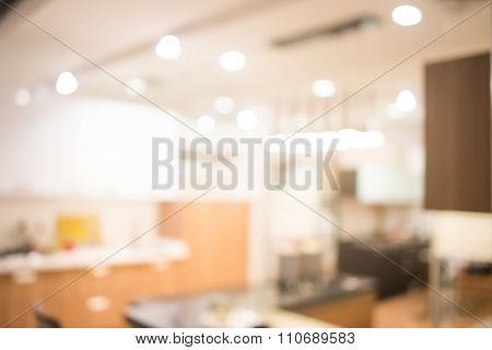 Abstract defocused blurred background blur image of kitchen dining room.