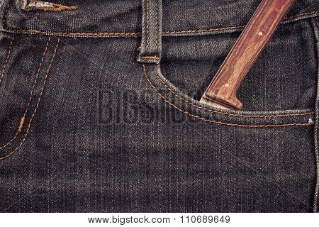 Old Knife With A Wooden Handle In Your Pocket Jeans.