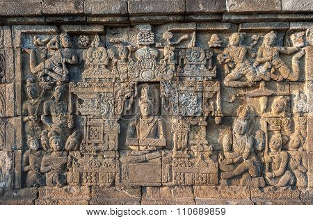 Bas-reliefs Of Borobudur Temple,  Java, Indonesia