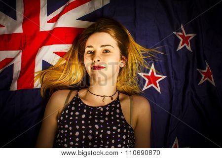 Woman Celebrating Australia Day On Australian Flag