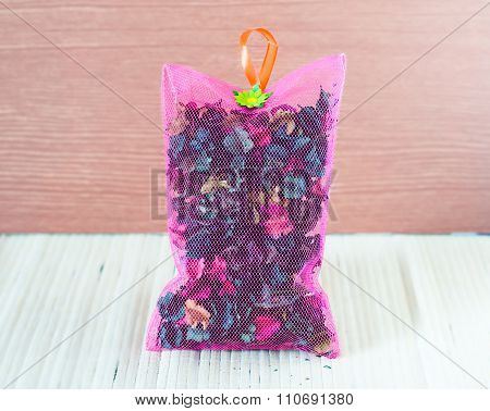 Dried Flower In Pink Sachet Bag With Aroma