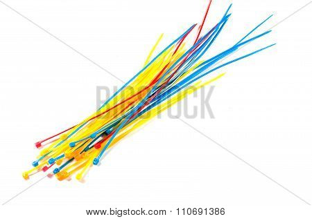 Multicolor Nylon Cable Ties On White Background. Isolated