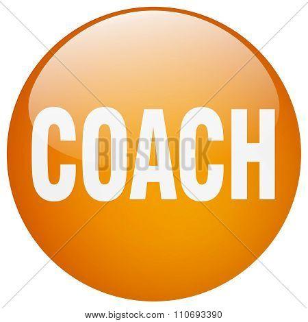 Coach Orange Round Gel Isolated Push Button