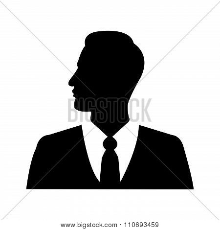 Illustration Vector Businessman Silhouette Profile Picture, Side View Face