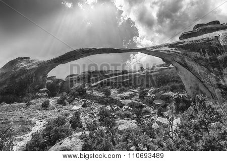 Landscape Arch in Arches National Park. Utah, USA. Black and white