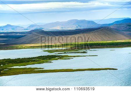 Dramatic volcanic crater Hverfjall near the lake Myvatn, Iceland