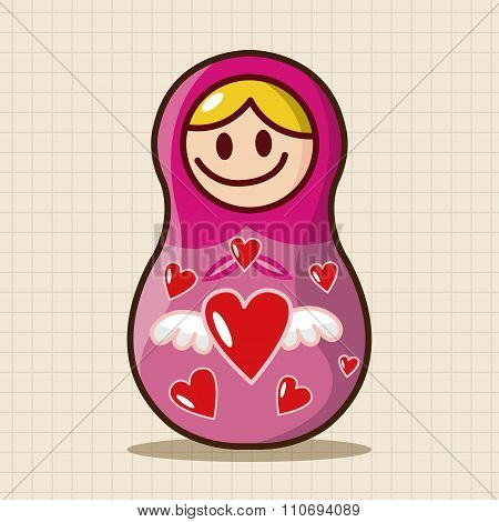 Matryoshka , Russian Traditional Wooden Doll, Vector Pattern, Elements,eps