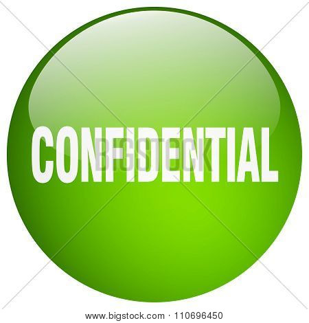 Confidential Green Round Gel Isolated Push Button