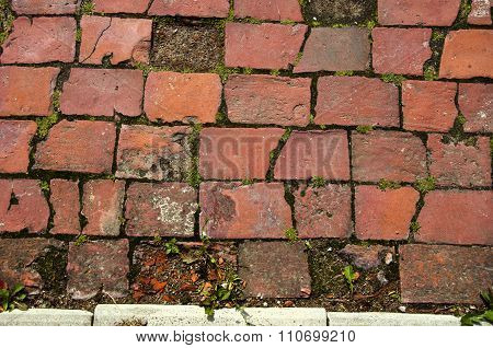 Old  Red Brick Decorative Pavement Background