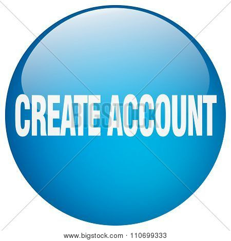 Create Account Blue Round Gel Isolated Push Button
