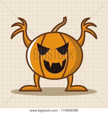 Bizarre Monster Theme Pumpkin Elements Vector,eps