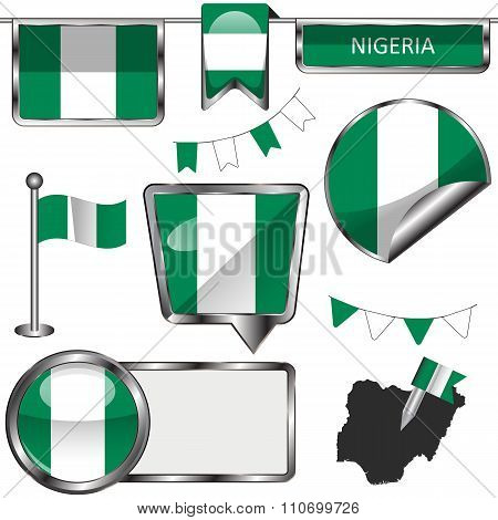 Glossy Icons With Flag Of Nigeria
