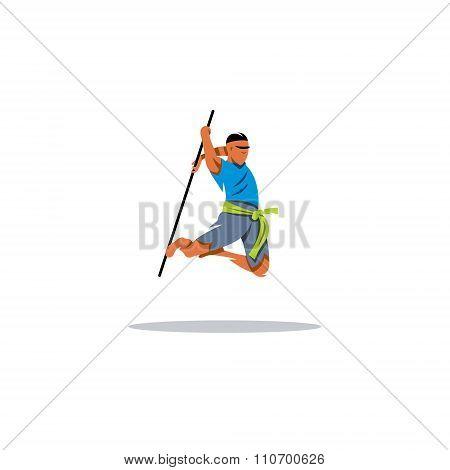 Kalaripayattu Indian martial art. Vector Illustration.