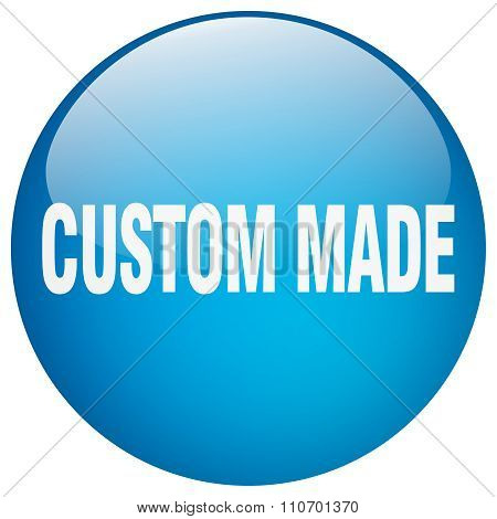 Custom Made Blue Round Gel Isolated Push Button