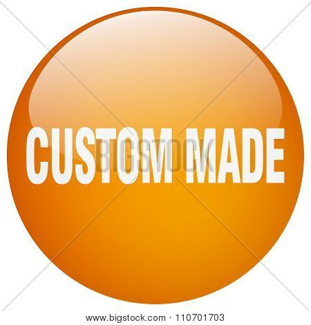 Custom Made Orange Round Gel Isolated Push Button