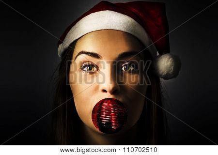 Silly Season Santa Girl With Christmas Decoration