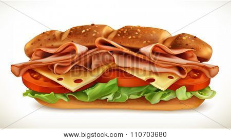 Big sandwich with meat and cheese, vector icon