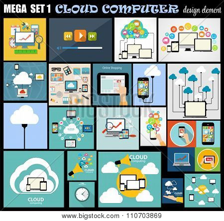 Mega Set Flat Computer Design Vector Illustration