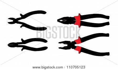 Pliers Tools. Isolated on White Bacground. Vector Illustration.