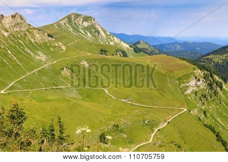 View of the Kafell peak and other peaks during summer time, view from the Hochplatte mountain peak at 1,813 m. Kafell ranks as the 1106th highest mountain in Tyrol, Austria