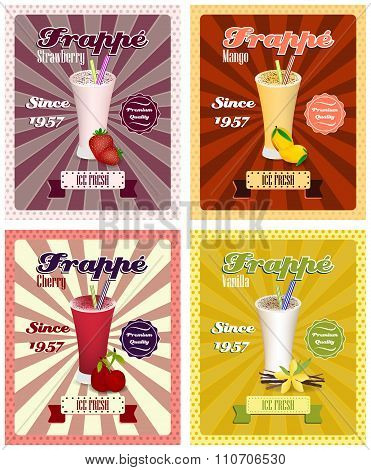Set of frappe poster vector illustrations, drinking strew and glass in vintage style.