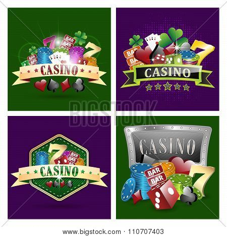 Set of casino vector illustrations.