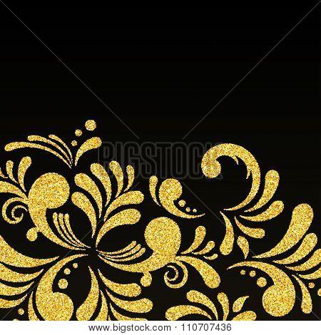 Vector Gold Glitter Floral Invitation Card