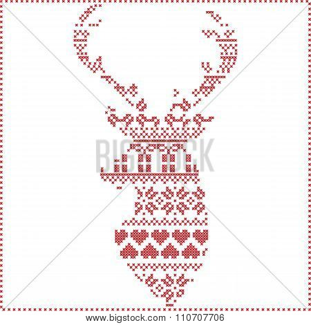 Scandinavian Nordic winter stitch, knitting  christmas pattern in reindeer shape shape