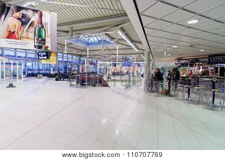 LEIPZIG, GERMANY - SEPTEMBER 11, 2014: interior of Leipzig Airport. Leipzig Airport is an international airport located in Schkeuditz, Saxony and serves both Leipzig, Saxony and Halle, Saxony-Anhalt.