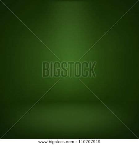 Abstract Illustration Background Texture Of Green Wall, Flat Floor In Empty Room.eps 10