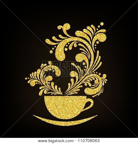 Vector Gold Glitter Cup of Coffee with Floral Aroma on Black Background