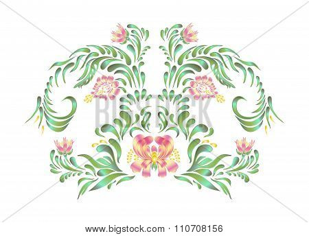 Beautiful vector border with flowers in vintage style.