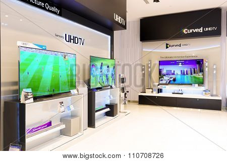 DUBAI - OCTOBER 15, 2014: interior of electronics devices shop in the Dubai Mall. The Dubai Mall located in Dubai, it is part of the 20-billion-dollar Downtown Dubai complex, and includes 1,200 shops.