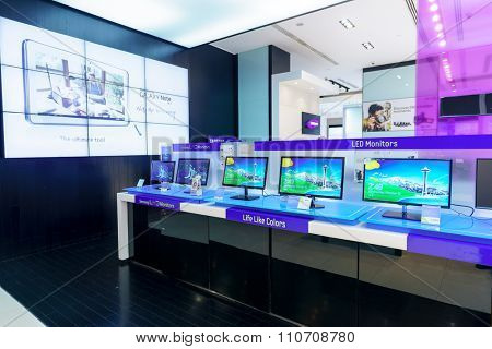 DUBAI - OCTOBER 15, 2014: interior of gadgets and electronics devices shop at the Dubai Mall. The Dubai Mall is part of the 20-billion-dollar Downtown Dubai complex, and includes 1,200 shops.