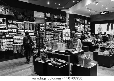 DUBAI - OCTOBER 15, 2014: interior of store at the Dubai Mall. The Dubai Mall located in Dubai, it is part of the 20-billion-dollar Downtown Dubai complex, and includes 1,200 shops.