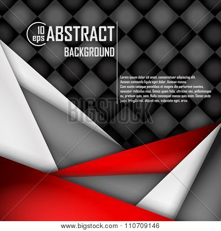 Abstract background of red, white and black origami paper. Vector illustration