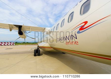 VERONA, ITALY - SEPTEMBER 15, 2014: close up shot of ATR-72 in Verona airport. The ATR 72 is a twin-engine turboprop short-haul regional airliner built by the French-Italian aircraft manufacturer ATR