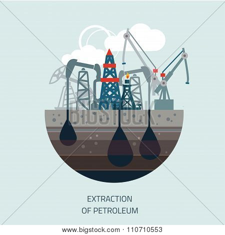 Drilling rig at sea. Oil platform, gas fuel,