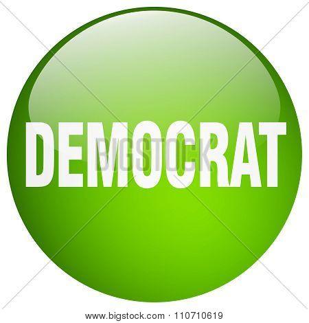 Democrat Green Round Gel Isolated Push Button