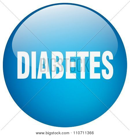 Diabetes Blue Round Gel Isolated Push Button