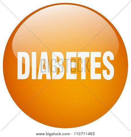 Diabetes Orange Round Gel Isolated Push Button