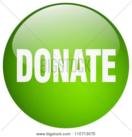 Donate Green Round Gel Isolated Push Button