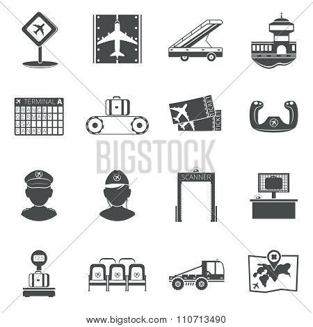 Airport black icons set